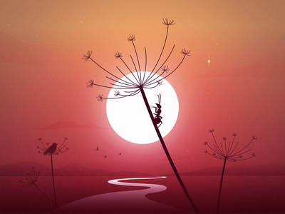 Hot summer mood board sunday madebymarko croatia feelingood calmness sunrise birds ant summer party vector sunset stars illustration summertime calm mood crickets summer hotsummer