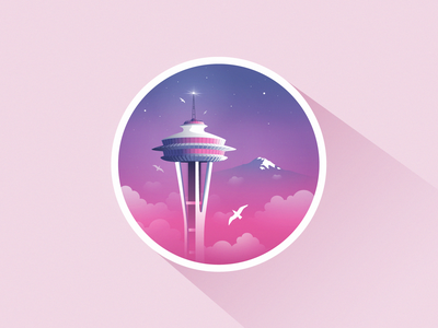 Space Needle, Seattle illustration space madebymarko seagulls seattle met landingpage ui sunrise sunset pacificnorthwest nirvana seattlewashington losangeles seattleseahawks california love washingtonstate washington seattle spaceneedle