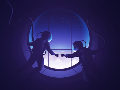 Travelers travel agency sunset moon design art artwork spacex spaceman travel app earth bluemarble astronauts exploration starship travel stars space travelers icon illustration