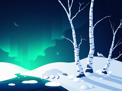 Cold winter star shadows draw adobeillustrator landscape weather snowy snow ice birch greenandblue fox auroraaustralis auroraborealis coldwinter illustration artic winterlandscape winter cold