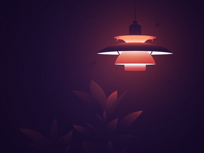 PH5 Louis Poulsen Lamp branding madebymarko red mood room lamp moth grain texture adobe illustration design vector illustration darkness shadow light warmlight grain vector