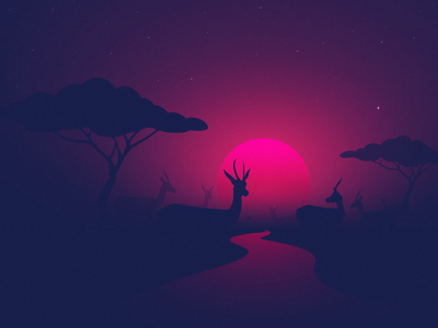 Gazelles homepage landingpage vector illustration illustrator madebymarko atmospheric atmosphere distance sun stars landscape warm mood warmmood misty sunrise sunset africa gazelles