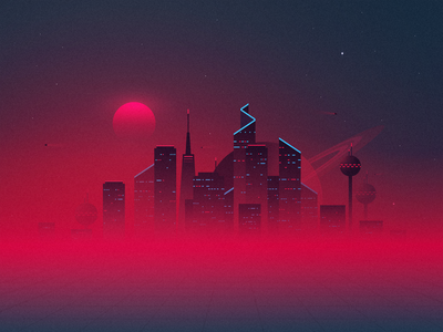Space city space exploration red spacedchallenge fog mist space travel saturn jupiter design stars illustraion digital art tesla sunrise sunset landscape universe space art city space