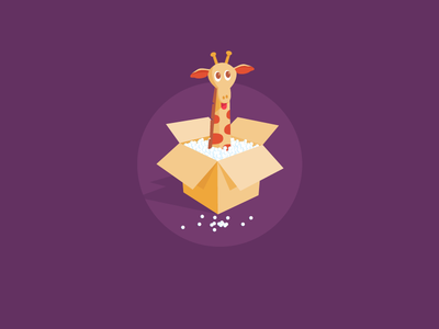 Peekaboo icon a day peekaboo icon design vector art flat giraffe the box