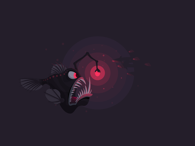 Angler Fish icon a day angler fish vector art flat design deep sea fish danger sea
