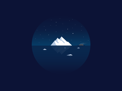 Disaster icon a day icon illustration vector art flat boat titanic disaster iceberg cold winter