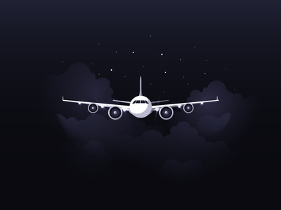 Airplane icon a day icons icon illustration light dark airplane flight air clouds stars