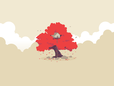 Tree House icon a day tree house icon illustration leafs leaf orange birds rocks nature clouds