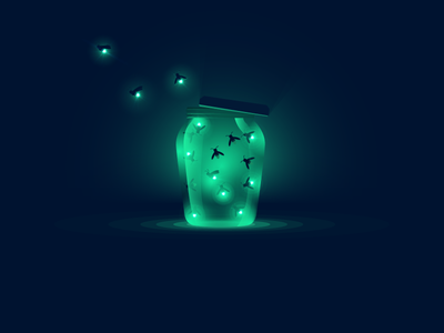 Fireflies icon a day icon illustration vector art flat firefly fireflies light dark bugs