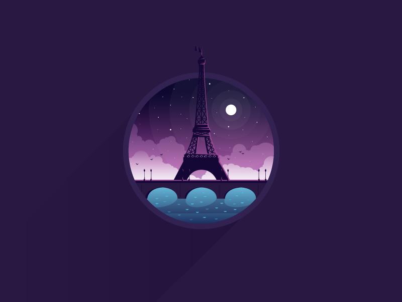 Paris icon a day icon illustration vector flat paris france jesuiecharlie