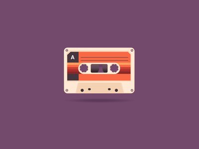 Cassette icon a day illustration cassette vector sunset purple radio walkmen sony 90th play music