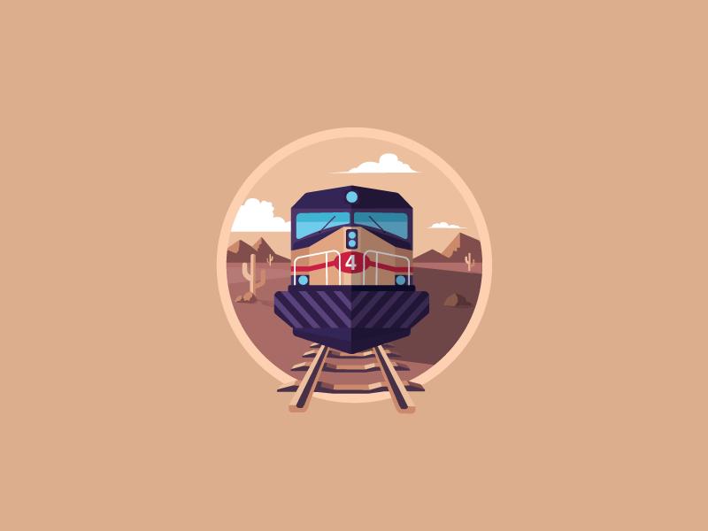 Locomotive icon-a-day icon illustration vector train locomotive desert transatlantic railroad rail loco diesel