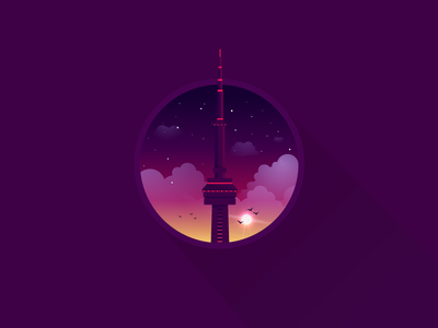CN Tower icon a day illustration toronto canada skyline cn cn tower sunset sunrise stars purple pink