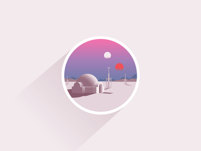 Tatooine icon a day icon illustration star wars tatooine lucas jawa desert skywalker yoda vader sun