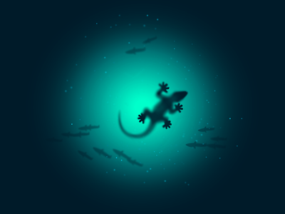 Gecko icon-a-day icon illustration gecko water run run on water water fish lizard deep blue sparkle