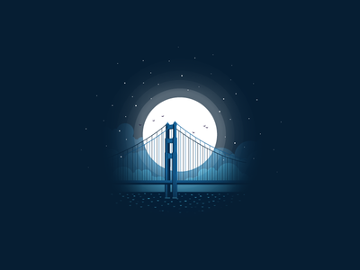 Bridge illustration travel icon-a-day icon moonlight moon night golden gate bridge bridge san francisco usa california