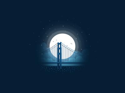 Bridge illustration travel icon-a-day icon moonlight moon night golden gate bridge bridge san francisco usa california