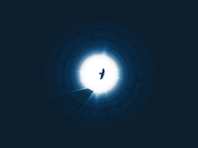 Well icon-a-day icon illustration weel bird dream deep stairs danger sad blue