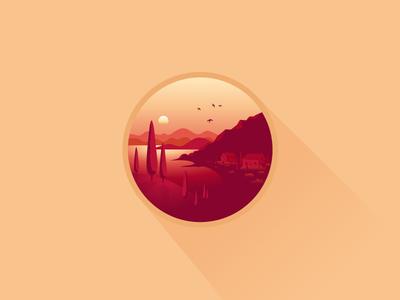 Mediterranean Sunset icon-a-day icons illustration sunset mediterranean adriatic croatia france italy sea cypress islands