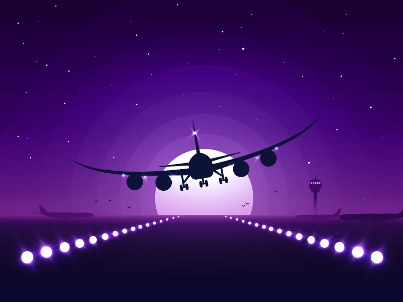 Long journey lights purple stars travel control tower sky airplane landing plane icon-a-day