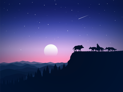 The end is near blood cliff forest moon moonlight end death fear boar wolfs illustration icon-a-day