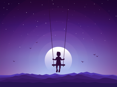 Chasing Dreams moon stars boy swing chase dream illustration icons icon-a-day