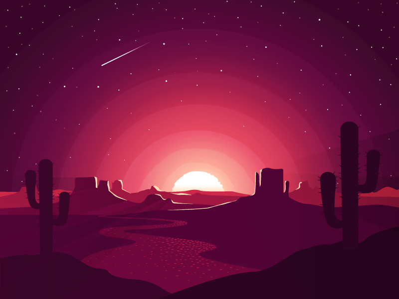 The End stars colorado arizona beginning sunset cactus challenge desert flat art vector