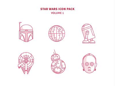 Star Wars Icon Pack falcon r2d2 c3po death star bb8 darth wader jedi sith yoda star wars