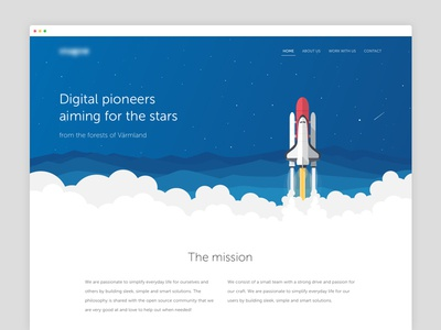 A web page for a developer company madebymarko explore discovery landing page web mission developers monster stars aliens rocket space