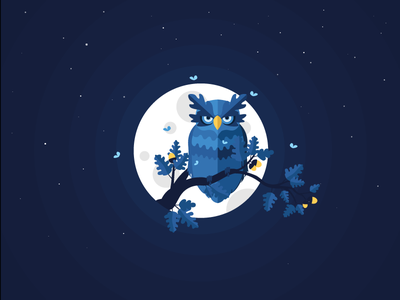 Blending into the night animals blue oak vector illustration night stars space moon blending bland owl