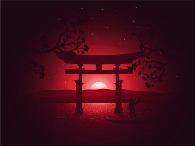 Itsukushima Shrine burn red lake cherry stars warm fish sunset temple japan shrine itsukushima