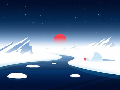 North Pole sunset dreams cold nights wind cold escimo igloo iceberg polar bear winter earth north pole