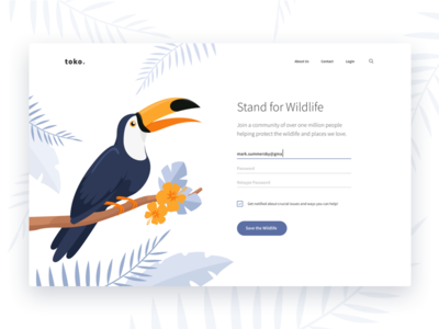 Stand for Wildlife illustration forest ux ui jungle animals register signup login wildlife toucan toko
