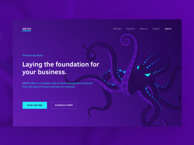 Abyss Landing page neon danger homepage landing purple illustration ocean sea deep octopus abyss