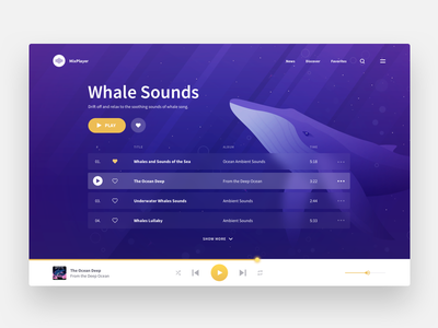 Music Player landing web blue ocean illustration record player sound whales music ux ui