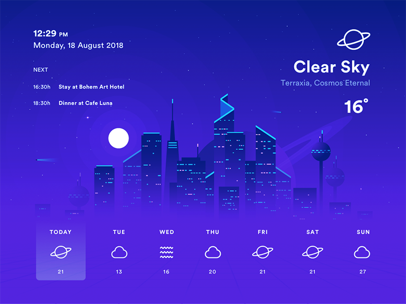 Weather App illustration ui radar moon cosmos galaxy tron city space app weather