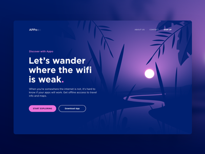 Landing page for Travel App exploration forest art mystery gradients shades webdesign travel app traveling river vector app app design explore wander purple jungle sunset landing page concept illustration