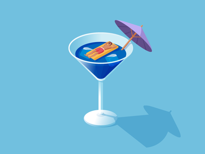 Just relax and absorb the sun (and alcohol :) ice cubes party drinking drunk drink alcohol art digital art relax illustrator adobe flat shade cocktails hot summer summer vector illustration