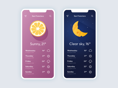 Weather App user interface warm cold rain sunny application concept flat stars cheese orange fruit illustration weather forecast weather app weather app ux ui design