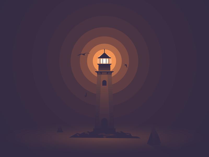 Lighthouse illustration lighthouse hope flat light faro phare fyrtårn vector madebymarko sea dangerous sea monster sailboat seagull peak ocean night burst alone