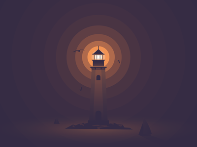 Lighthouse illustration lighthouse hope flat light faro phare fyrtårn vector madebymarko sea dangerous sea monster sailboat seagull peak ocean night burst alone