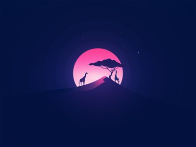 Frozen (time) in summer shadows flat vector adobe art illustrator design moon sun tree giraffe pink summer camp lionking animals wild africa frozen heat summer
