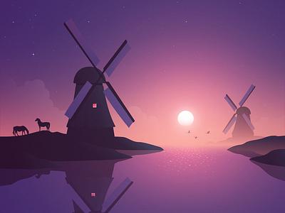 Windmills space stars shades night horses reflection sunrise sunset peace serenity calm illustration landscape adobe illustrator vector windmill windmills wind netherlands