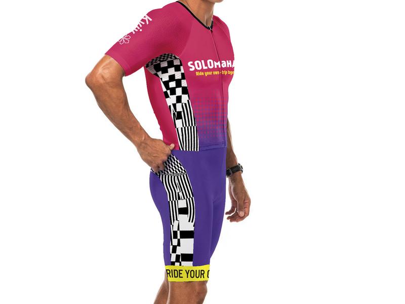 Solo letter gradient pattern design uniform bicycle