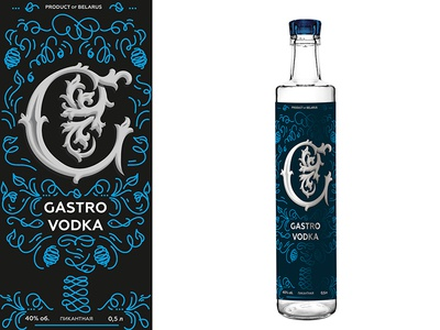 Gastro Vodka typogaphy branding g pattern vodka label package design packaging