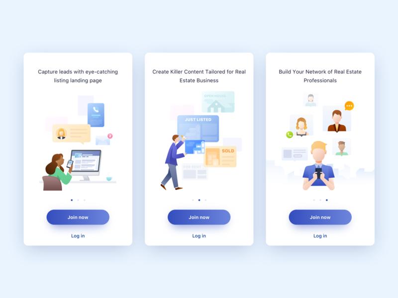 Onboarding for Real Estate Social App onboarding design ui illustration app