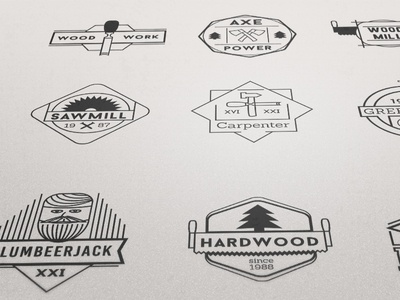 Wood Vector Badges Set