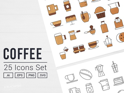 Coffee Time Vector Icon Set