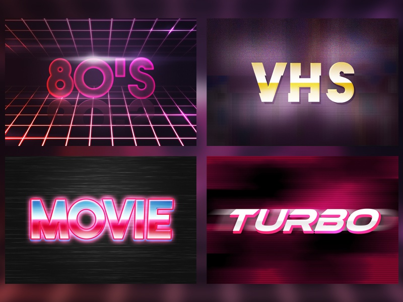 80's Retro Text Effect Mockup typographic type space text shiny 80s abstract cosmic retro template vintage vibrant
