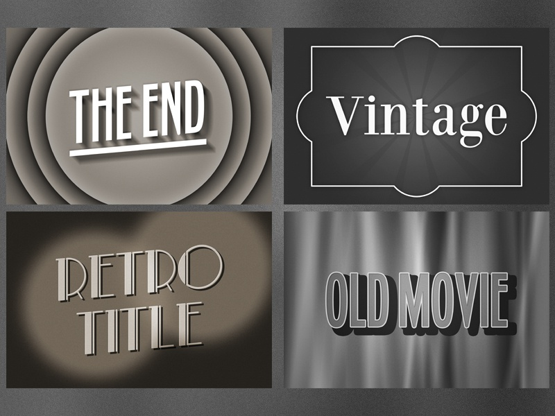 Old Movie Text Effect for Photoshop sign text effect silent film bw sepia title movie old vintage retro